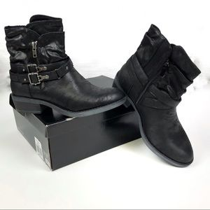NIB Torrid Black Faux Leather Moto Bootie 11*WIDE*